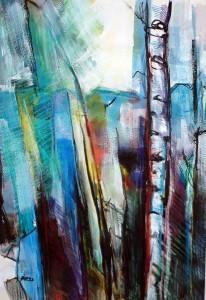 "Philip Bates Artist ""Aspens"" Mixed Media 21 1/2 X 14 1/2 $150 unframed"