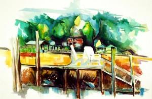 "Philip Bates Artist ""Betty's Dock"" Mixed Media 14 1/2x 21 1/2 $150 unframed"