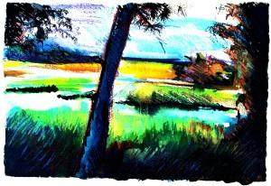 "Philip Bates Artist ""Blue Tree"" Mixed Media 8 X 11 $75 unframed"