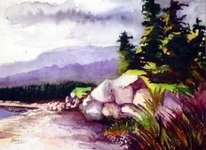 "Philip Bates Artist ""Cape Breton, N.S."" W/C 8 X 15 $150 framed"