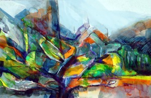 "Philip Bates Artist ""Chatahoochee Headwaters"" Mixed Media 14 1/2 X 21 1/2 $150 unframed"