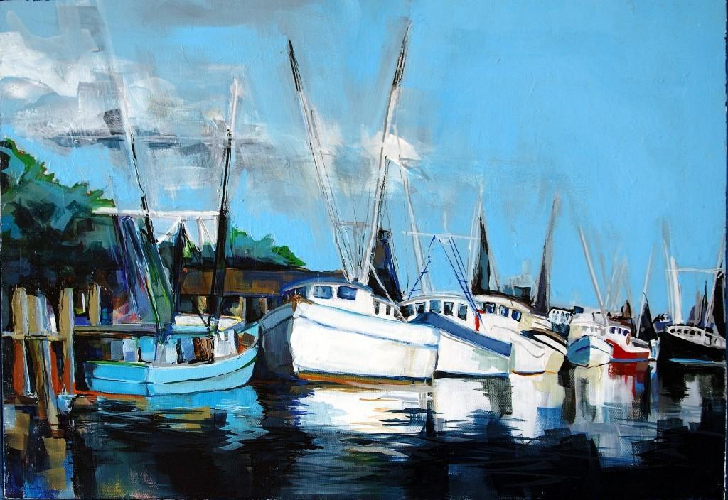 "Philip Bates Artist ""Darien Waterfront"" acrylic 18X24 $200 w/strip frame"