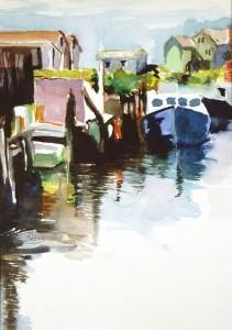 "Philip Bates Artist ""Harbor in Nova Scotia 2"" 8 X 11 $150 framed"