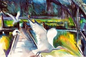 "Philip Bates Artist ""Ibises"" Mixed Media 14 1/2 X 20 1/2 $150 unframed"