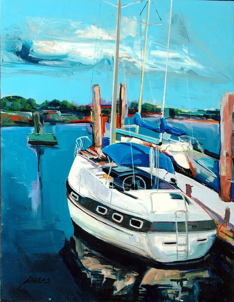 "Philip Bates Artist ""Julienton River Anchorage"" Acrylic 18X24 $200 w/ strip frame"