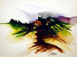 Philip Bates Artist Near Sienna, Italy W/C 8 1/2 X 11 $150 framed