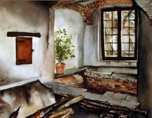 "Philip Bates Artist ""Old Monastery Kitchen- Italy"" W/C 11 X 14 $200 framed"