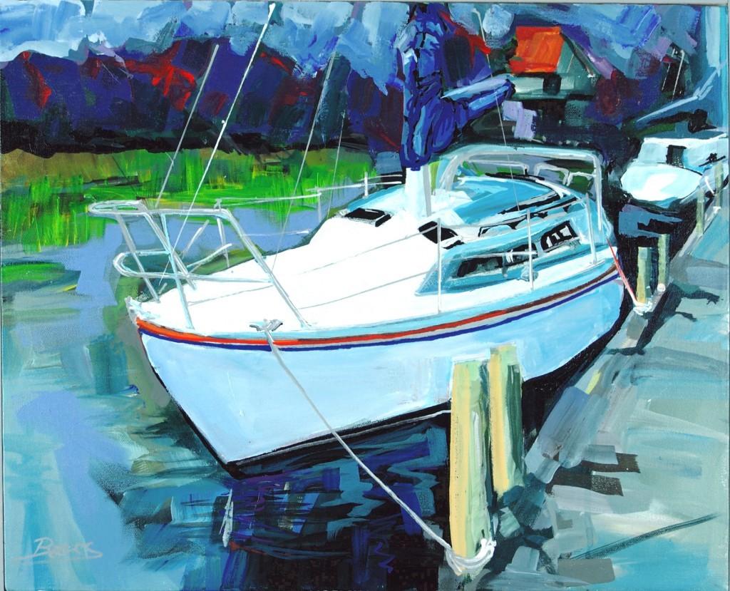 "Philip Bates Artist ""Sailboat"" acrylic 16X20 $200 w/strip frame"