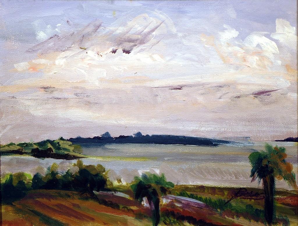 """Philip Bates Artist """"Savannah River at Fort Pulaski"""" acrylic 8 1/2X 11 1/2 $120 Framed"""