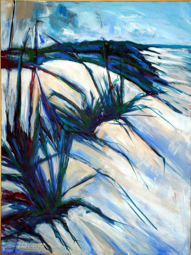 "Philip Bates Artist ""Sea Oats"" acrylic 18X24 $200 w/ strip frame"