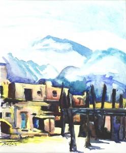 "Philip Bates Artist ""Taos Pueblo"" 7X10 mixed media $75 unframed"
